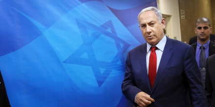 Israeli Prime Minister Benjamin Netanyahu arrives to the weekly cabinet meeting at his Jerusalem office on Sunday, March 13, 2016.  Israel is calling on world powers to punish Iran for its recent test-firing of ballistic missiles.  Netanyahu says Israel is directing its demand to the  United States, Russia, China, Britain, France and Germany — the countries that signed the deal lifting sanctions on Iran in exchange for Tehran curbing its nuclear program. (Gali Tibbon, Pool via AP)
