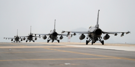 U.S. Air Force F-16 Fighting Falcon fighter jets, manufactured by Lockheed Martin Corp., taxi on the tarmac during the Max Thunder Air Exercise, a bilateral training exercise between the South Korean and U.S. Air Force, at a U.S. air base in Gunsan, South Korea, on Thursday, April 20, 2017. U.S. Vice President Mike Pence issued a fresh warning to North Korea from the deck of a U.S. aircraft carrier in Japan, hours after reports emerged that the approaching