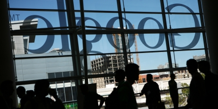 A Google logo is seen through windows of Moscone Center in San Francisco during Google's annual developer conference, Google I/O, in San Francisco on June 28, 2012 in California. AFP PHOTO / Kimihiro Hoshino        (Photo credit should read KIMIHIRO HOSHINO/AFP/GettyImages)