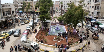 A picture taken on May 24, 2017 shows a general view of a square in the northern Syrian city of Idlib as Syrians prepare for the holy month of Ramadan due to start later this week. / AFP PHOTO / Omar haj kadour        (Photo credit should read OMAR HAJ KADOUR/AFP/Getty Images)