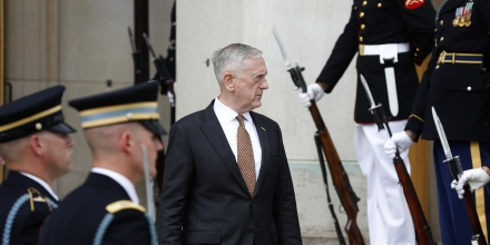 ARLINGTON, VA - July 7: U.S. Secretary of Defense James Mattis awaits the start of a honor cordon welcoming the United Kingdom's Secretary of State for Defence Sir Michael Fallon at the Pentagon July 7, 2017 in Arlington, Virginia. Mattis and Fallon intend to discuss North Korea and the fight against ISIS during their bilateral meeting. (Photo by Aaron P. Bernstein/Getty Images)