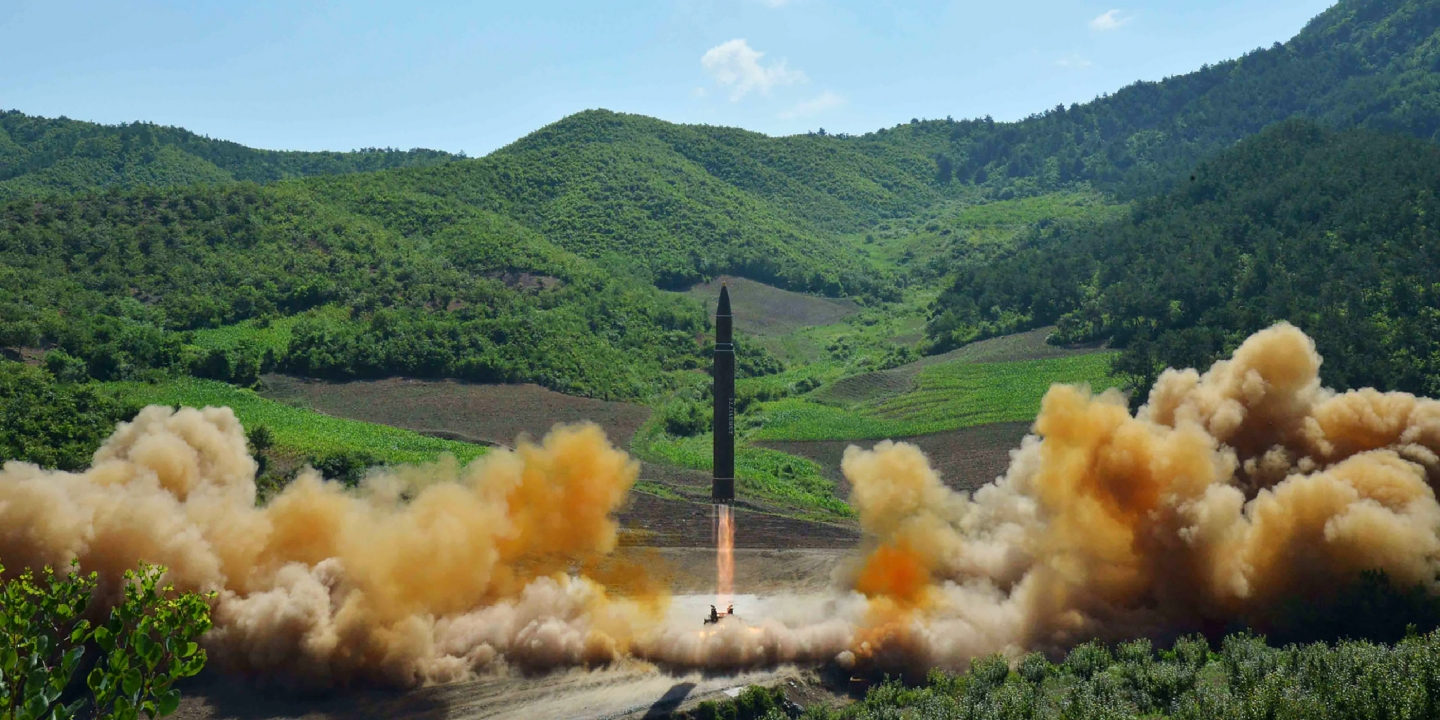 "This picture taken and released on July 4, 2017 by North Korea's official Korean Central News Agency (KCNA) shows the test-fire of the intercontinental ballistic missile Hwasong-14 at an undisclosed location.North Korea declared on July 4 it had successfully tested its first intercontinental ballistic missile -- a watershed moment in its push to develop a nuclear weapon capable of hitting the mainland United States. / AFP PHOTO / KCNA VIA KNS / STR / South Korea OUT / REPUBLIC OF KOREA OUT ---EDITORS NOTE--- RESTRICTED TO EDITORIAL USE - MANDATORY CREDIT ""AFP PHOTO/KCNA VIA KNS"" - NO MARKETING NO ADVERTISING CAMPAIGNS - DISTRIBUTED AS A SERVICE TO CLIENTSTHIS PICTURE WAS MADE AVAILABLE BY A THIRD PARTY. AFP CAN NOT INDEPENDENTLY VERIFY THE AUTHENTICITY, LOCATION, DATE AND CONTENT OF THIS IMAGE. THIS PHOTO IS DISTRIBUTED EXACTLY AS RECEIVED BY AFP. / (Photo credit should read STR/AFP/Getty Images)"