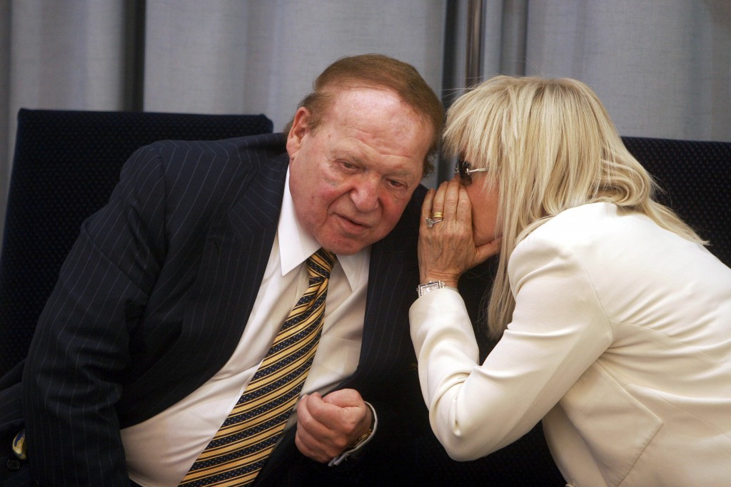 Philanthropist Sheldon Adelson and his wife Miriam Adelson are seen during a ceremony in The President house on August 12, 2007 in Jerusalem, Israel. (Photo by Lior Mizrahi/Getty Images)