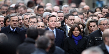 Review of the Year 2015. PA REVIEW OF THE YEAR. File photo dated 11/01/15 of Prime Minister David Cameron joining other world leaders at the start of the defiant march through Paris, France, in the wake of the terror attacks at Charlie Hebdo magazine offices. Issue date: Sunday December 20, 2015. See PA story XMAS Year. Photo credit should read: Steve Parsons/PA Wire URN:25080328