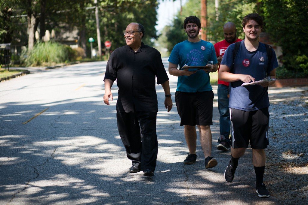 Vincent Fort (in black) and campaign workers canvass for votes in Atlanta on Saturday, Sept. 9, 2017. Fort is one of 12 candidates in a non-partisan race for Atlanta mayor. Photo by Kevin D. Liles for The Intercept