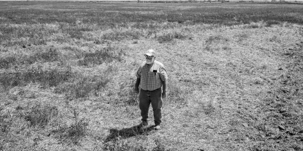 Bob White, a wheat farmer whose family has been farming this land since 1902, stands next to his fields. He believes the hospital should do everything it can to stay open because 7 years ago, when he had a heart attack it was the Wellington hospital that saved his life. While many residents can opt to move to larger towns with hospitals, Bob cannot.