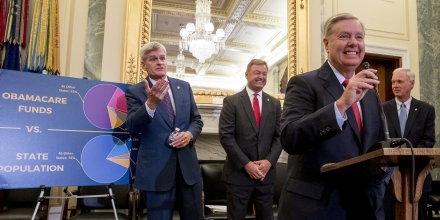 From left, Sen. Bill Cassidy, R-La., Sen. Dean Heller, R-Nev., Sen. Lindsey Graham, R-S.C., and Sen. Ron Johnson, R-Wis., hold a news conference on Capitol Hill in Washington, Wednesday, Sept. 13, 2017, to unveil legislation to reform health care. (AP Photo/Andrew Harnik)