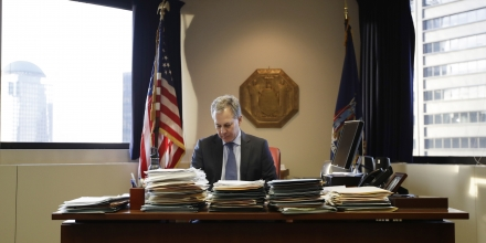 New York State Attorney General Eric Schneiderman sits at his desk in his office Friday, Feb. 17, 2017, in New York. (AP Photo/Frank Franklin II)