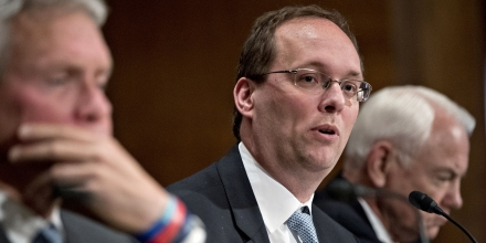 Keith Noreika, acting Comptroller of the Currency, speaks during a Senate Banking Committee hearing in Washington, D.C., U.S., on Thursday, June 22, 2017. Top U.S. banking regulators are sprinting to ease the Volcker Rule, stress tests and other constraints on Wall Street after the Trump administration issued a long list of proposals last week for rolling back post-crisis financial rules. Photographer: Andrew Harrer/Bloomberg via Getty Images