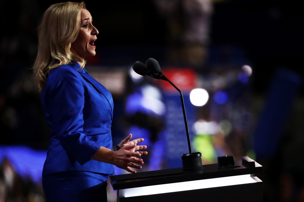 CLEVELAND, OH - JULY 19: Arkansas Attorney General Leslie Rutledge delivers a speach on the second day of the Republican National Convention on July 19, 2016 at the Quicken Loans Arena in Cleveland, Ohio. Republican presidential candidate Donald Trump received the number of votes needed to secure the party's nomination. An estimated 50,000 people are expected in Cleveland, including hundreds of protesters and members of the media. The four-day Republican National Convention kicked off on July 18.  (Photo by Win McNamee/Getty Images)