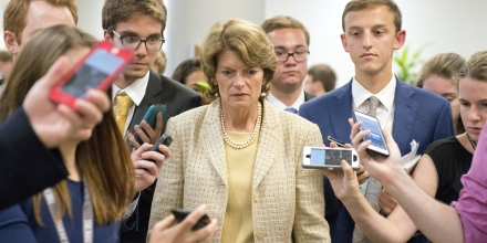 Lisa Murkowski is surrounded by reporters as she arrives in the US Capitol by the Senate Subway prior to the vote on the repeal of the Affordable Care Act Senate rejects repeal-only health care bill, Washington DC, USA - 26 Jul 2017 Affordable Care Act also known as