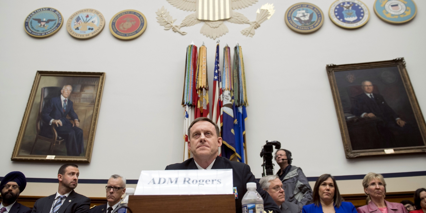 Admiral Mike Rogers, Director of the National Security Agency (NSA), testifies about the Fiscal Year 2018 budget request for US Cyber Command during a House Armed Services Committee hearing on Capitol Hill in Washington, DC, May 23, 2017. / AFP PHOTO / SAUL LOEB        (Photo credit should read SAUL LOEB/AFP/Getty Images)