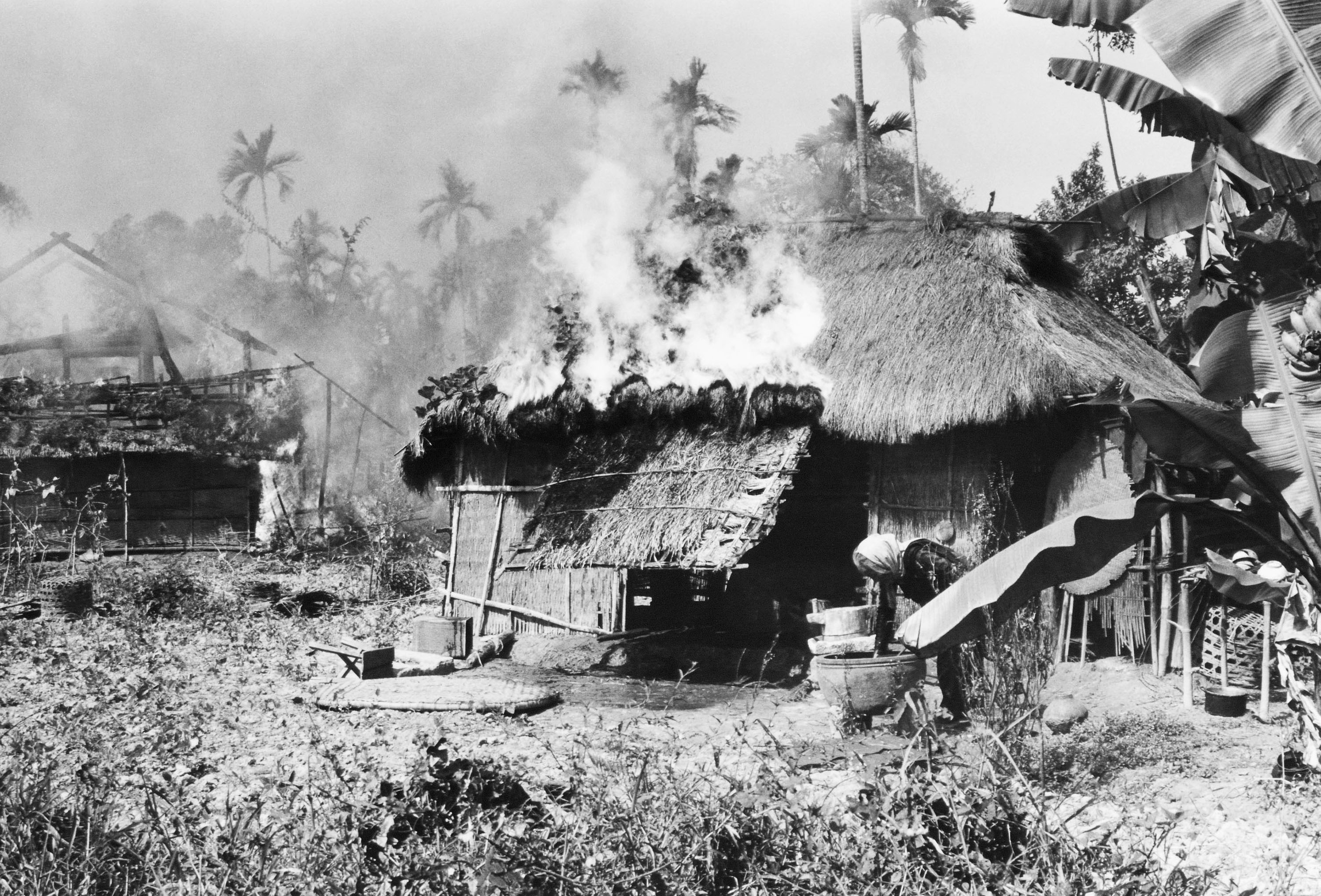 """an evaluation of the vietnam war """"the vietnam war"""" begins in reverse after a brief introduction, there's a sequence of familiar footage, running backward napalm is sucked out of the jungle bombs fall up a prisoner."""