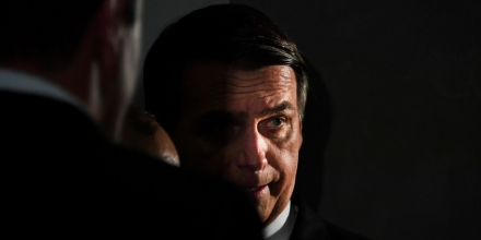 Brazilian deputy Jair Bolsonaro looks on during a press conference he called to announce his intention to run for the Brazilian presidency in the October 2018 presidential election, at a hotel in Rio de Janeiro on August 10, 2017.A controversial politician and former army paratrooper, Bolsonaro called himself the