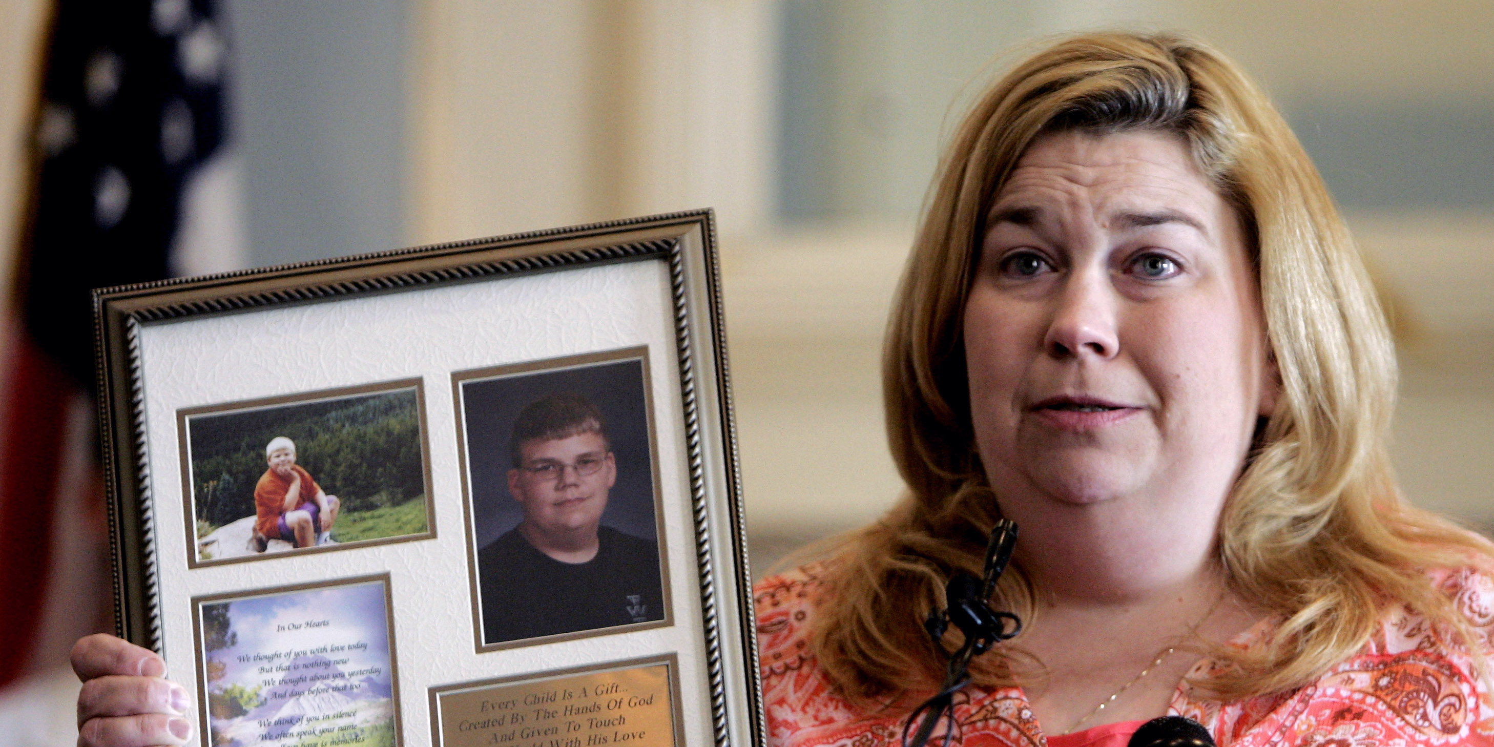 Tamra Weimer holds photos of her son, Andrew Weimer, who was 15 years old when he died from an ATV accident,  during a news conference in Oklahoma City, Wednesday, May 10, 2006, called to discuss the Oklahoma Legislature's failure to pass a bill aimed at reducing deaths due to children riding all-terrain vehicles. (AP Photo)
