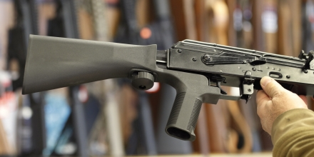 SALT LAKE CITY, UT - OCTOBER 5: A bump stock device, (left) that fits on a semi-automatic rifle to increase the firing speed, making it similar to a fully automatic rifle, is installed on a AK-47 semi-automatic rifle, (right) at a gun store on October 5, 2017 in Salt Lake City, Utah. Congress is talking about banning this device after it was reported to of been used in the Las Vegas shootings on October 1, 2017. (Photo by George Frey/Getty Images)