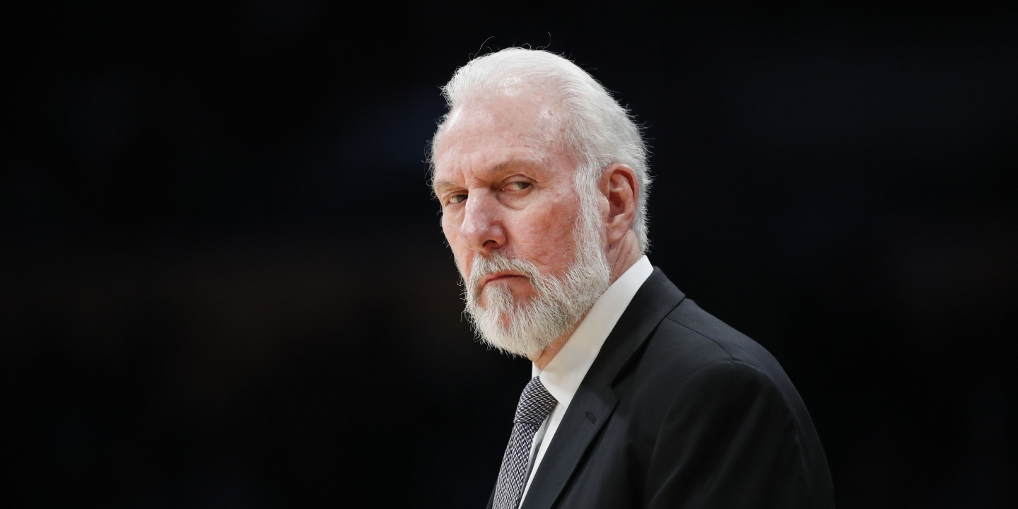 San Antonio Spurs head coach Gregg Popovich watches action during the first half of an NBA basketball game against the Los Angeles Lakers, Sunday, Feb. 26, 2017, in Los Angeles. (AP Photo/Jae C. Hong)