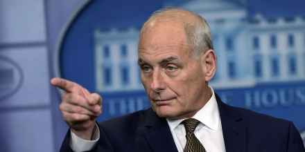 White House Chief of Staff John Kelly calls on a reporter during the daily briefing at the White House in Washington, Thursday, Oct. 12, 2017. (AP Photo/Susan Walsh)