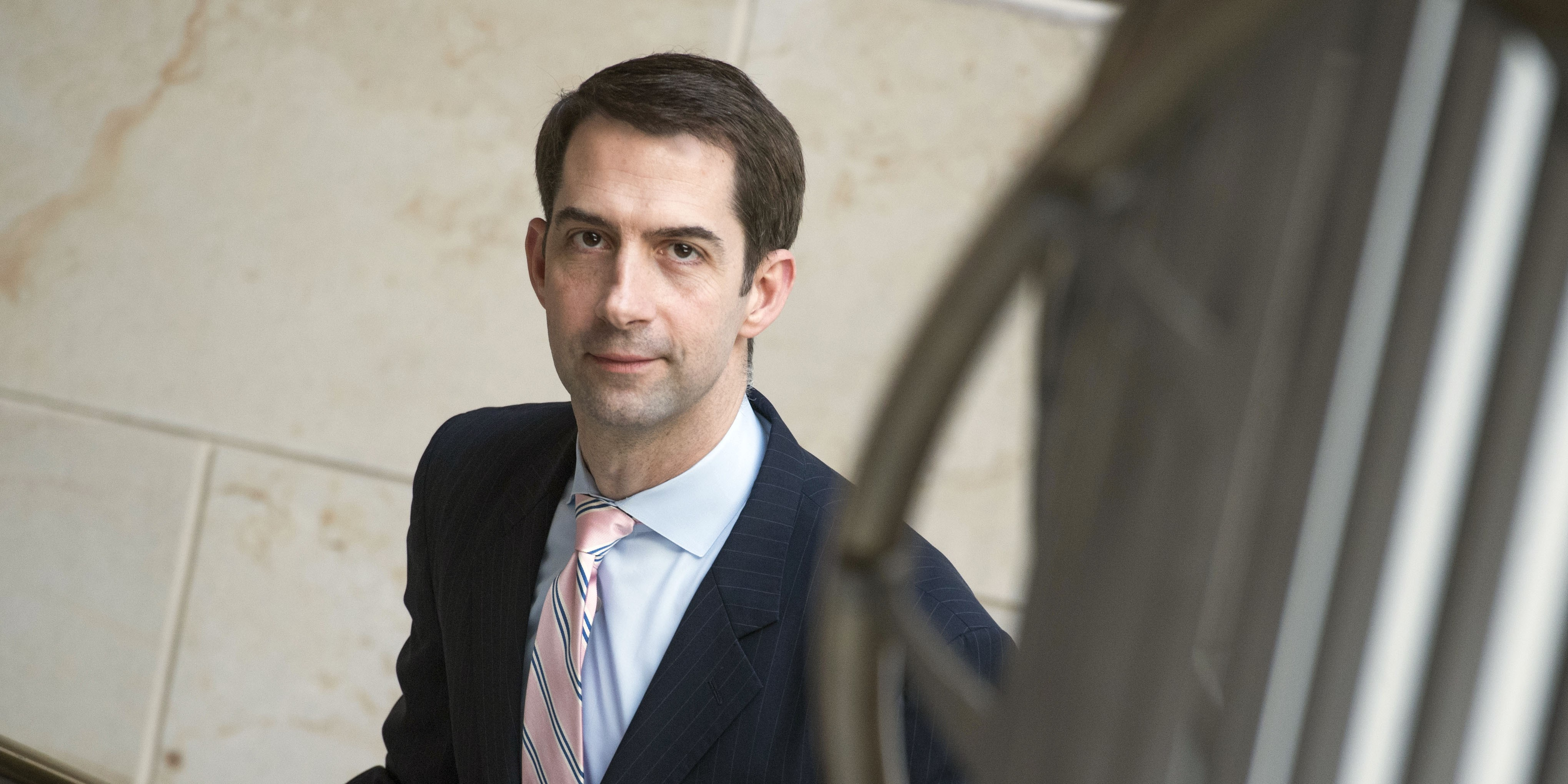 UNITED STATES - MAY 18: Sen. Tom Cotton, R-Ark., leaves a briefing with Deputy Attorney General Rod Rosenstein in the Capitol Visitor Center on the investigation of President Trump's campaign ties to Russia on May 18, 2017. (Photo By Tom Williams/CQ Roll Call) (CQ Roll Call via AP Images)