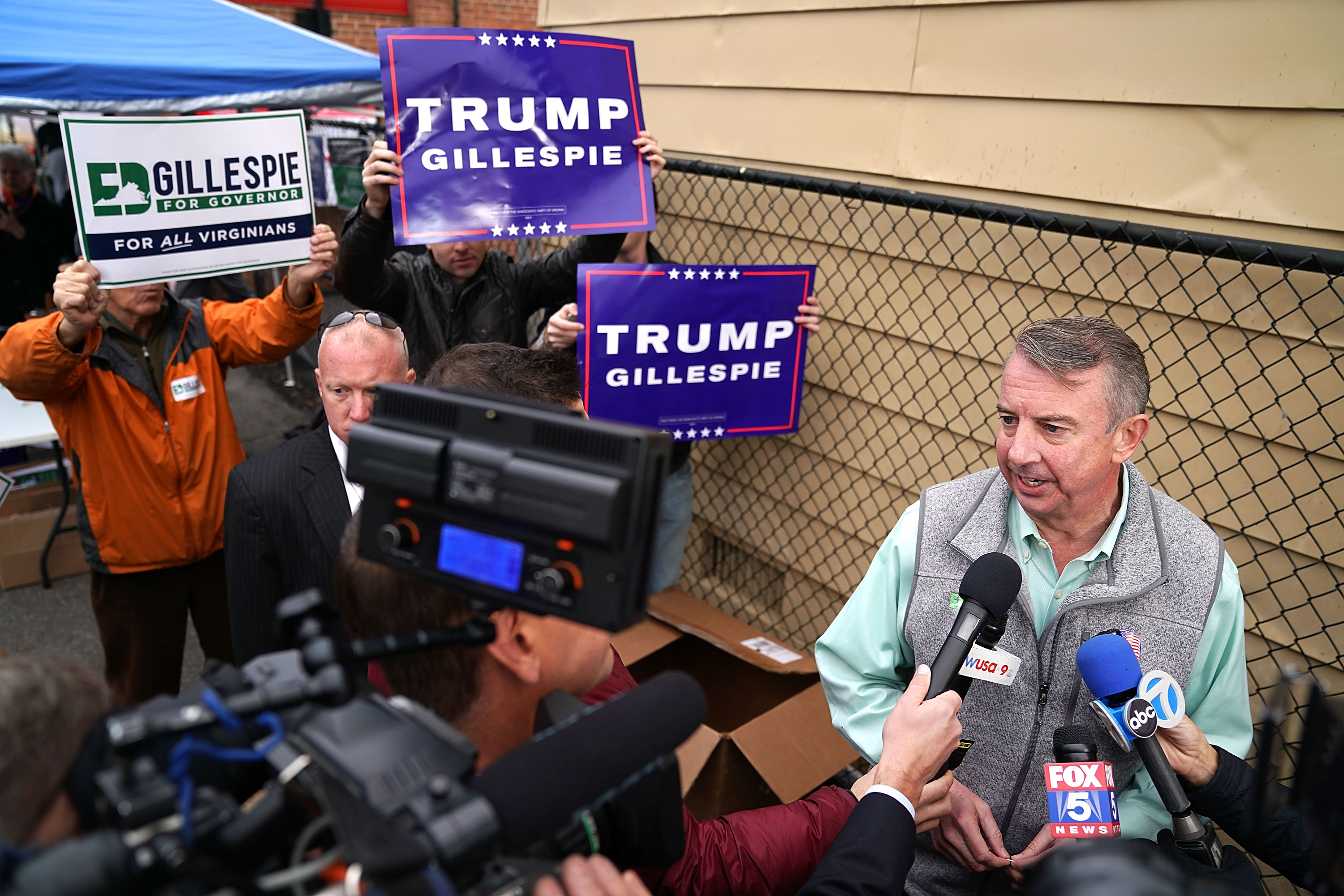 ALEXANDRIA, VA - NOVEMBER 07:  Republican candidate for Virginia governor Ed Gillespie talks to journalists after casting his vote at the polling place at Washington Mill Elementary School November 7, 2017 in Alexandria, Virginia. In a race that many see as a test of the Republican administration of President Donald Trump, Gillespie is running against the commonwealth's current lieutenant governor, Democrat Ralph Northam.  (Photo by Chip Somodevilla/Getty Images)