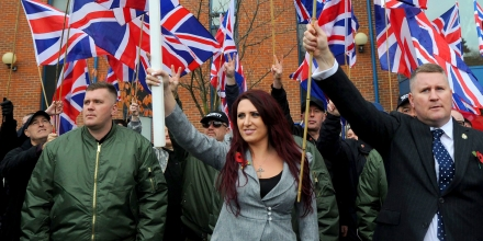 Jayda Fransen and Paul Goulding Britain First Rally, London, UK - 04 Nov 2017 'Britain First' holds a rally in support of their leaders Paul Goulding and Jayda Fransen, who have to sign in at Bromley Police Station as part of their bail conditions. (Rex Features via AP Images)
