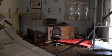 View of a damaged classroom in a school in Toa Baja, on October 2, 2017. President Donald Trump strenuously defended US efforts to bring relief to storm-battered Puerto Rico, even as one island official said Trump was trying to gloss over