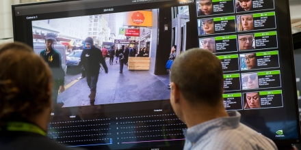 A display shows a facial recognition system for law enforcement during the NVIDIA GPU Technology Conference, which showcases artificial intelligence, deep learning, virtual reality and autonomous machines, in Washington, DC, November 1, 2017. / AFP PHOTO / SAUL LOEB        (Photo credit should read SAUL LOEB/AFP/Getty Images)