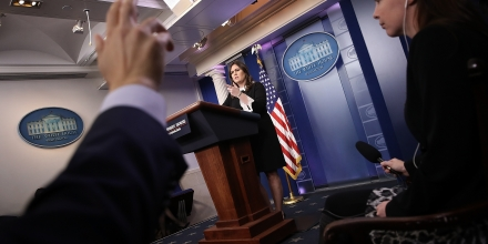 WASHINGTON, DC - DECEMBER 05:  White House press secretary Sarah Huckabee Sanders answers questions during the daily briefing at the White House on December 5, 2017 in Washington, DC. Sanders answered a range of questions related including moving the U.S. embassy in Israel to Jerusalem and the Alabama U.S Senate race featuring Roy Moore.  (Photo by Win McNamee/Getty Images)