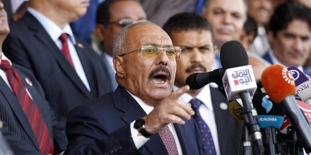 Yemen's ex-president Ali Abdullah Saleh gives a speech addressing his supporters during a rally as his political party, the General People's Congress, marks 35 years since its founding, at Sabaeen Square in the capital Sanaa on August 24, 2017. The rally comes amid reports that armed supporters of Saleh and the head of the country's Huthi rebels, who have been allied against the Saudi-backed government since 2014, had spread throughout the capital as tensions are rising between the two sides. / AFP PHOTO / MOHAMMED HUWAIS (Photo credit should read MOHAMMED HUWAIS/AFP/Getty Images)