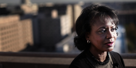 WASHINGTON, DC:  After delivering a speech at a conference marking the twentieth anniversary of the Anita Hill-Clarence Thomas hearings, Brandeis University professor, Anita Hill, gives an interview on the topic of discrimination based on gender, at Georgetown University Law School on Capitol Hill Thursday, October 6, 2011.  (Photo by Melina Mara/The Washington Post via Getty Images)