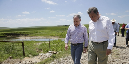 Environmental Protection Agency Administrator Scott Pruitt (left) and Albert Kelly, senior advisor, visit Bird Creek on the Chapman Ranch in Pawhuska May 26, 2017. MIKE SIMONS/Tulsa World