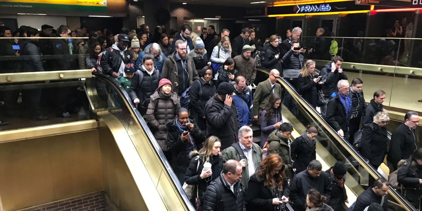 Commuters exit the New York Port Authority in New York City, U.S. December 11, 2017 after reports of an explosion. REUTERS/Edward Tobin - RC15D9EB7D50