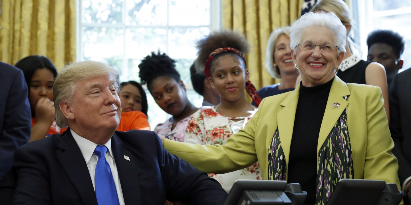 House republicans want to end student loan forgiveness for public president donald trump reacts with rep virginia foxx r nc before sciox Images