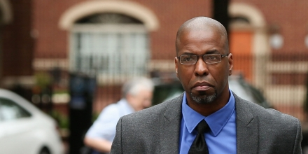 Former CIA officer Jeffrey Sterling, second from right,, accompanied by his wife Holly, and his attorneys, arrives at the U.S. District Court in Alexandria, Va., Monday, May 11, 2015. Sterling was scheduled for sentencing for leaking details of a secret mission to thwart Iran's nuclear ambitions. (AP Photo/Andrew Harnik)