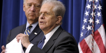 Vice President Joe Biden, left, listens as Laurence Tribe speaks  in the South Court Auditorium at the White House in Washington, Friday, Nov. 19, 2010,  about helping families secure legal help, during a middle class task force event. (AP Photo/Susan Walsh)