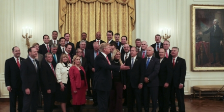 February 28, 2017 - Washington, District of Columbia, United States of America - United States President Donald Trump poses with the National Association of Attorneys General in the State Dining Room of the White House, Washington, DC, February 28, 2017. .Credit: Aude Guerrucci / Pool via CNP.Credit: Aude Guerrucci / Pool via CNP (Credit Image: © Aude Guerrucci/CNP via ZUMA Wire)