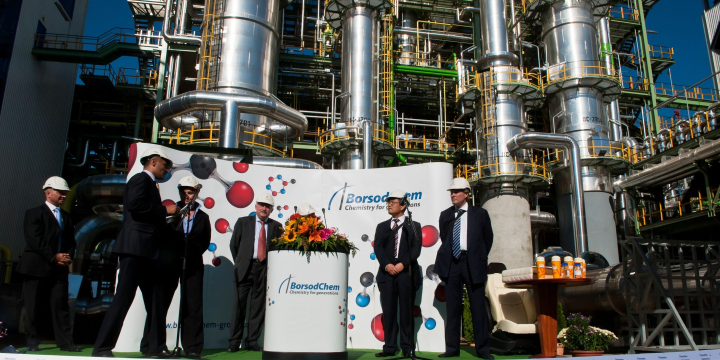 KAZINCBARCIKA, Oct. 1, 2011  Wanhua Industrial Group CEO Jason Ding (2nd R) attends a launch ceremony of the TDI-2 facility of Hungary' s chemical industry producer BorsodChem in Kazincbarcika, Hungary on Sept. 30, 2011. Hungarian chemical manufacturer BorsodChem on Friday announced the completion of a new TDI (toluene di-isocyanate) production facility in Kazincbarcika in northeast Hungary. The initial capacity of the new facility is 160 kilotons per year, making BorsodChem, in which China's Wanhua holds 96-percent ownership stake, Europe's largest TDI manufacturer. The company had invested over 200 million euros in the new facility. (Credit Image: © Xinhua via ZUMA Wire)