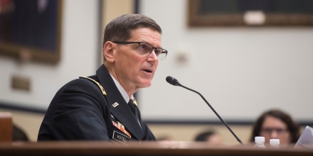 US Army General Joseph Votel, commander of the US Central Command, testifies during a House Armed Services Committee hearing on Capitol Hill in Washington, DC, February 27, 2018. / AFP PHOTO / SAUL LOEB        (Photo credit should read SAUL LOEB/AFP/Getty Images)