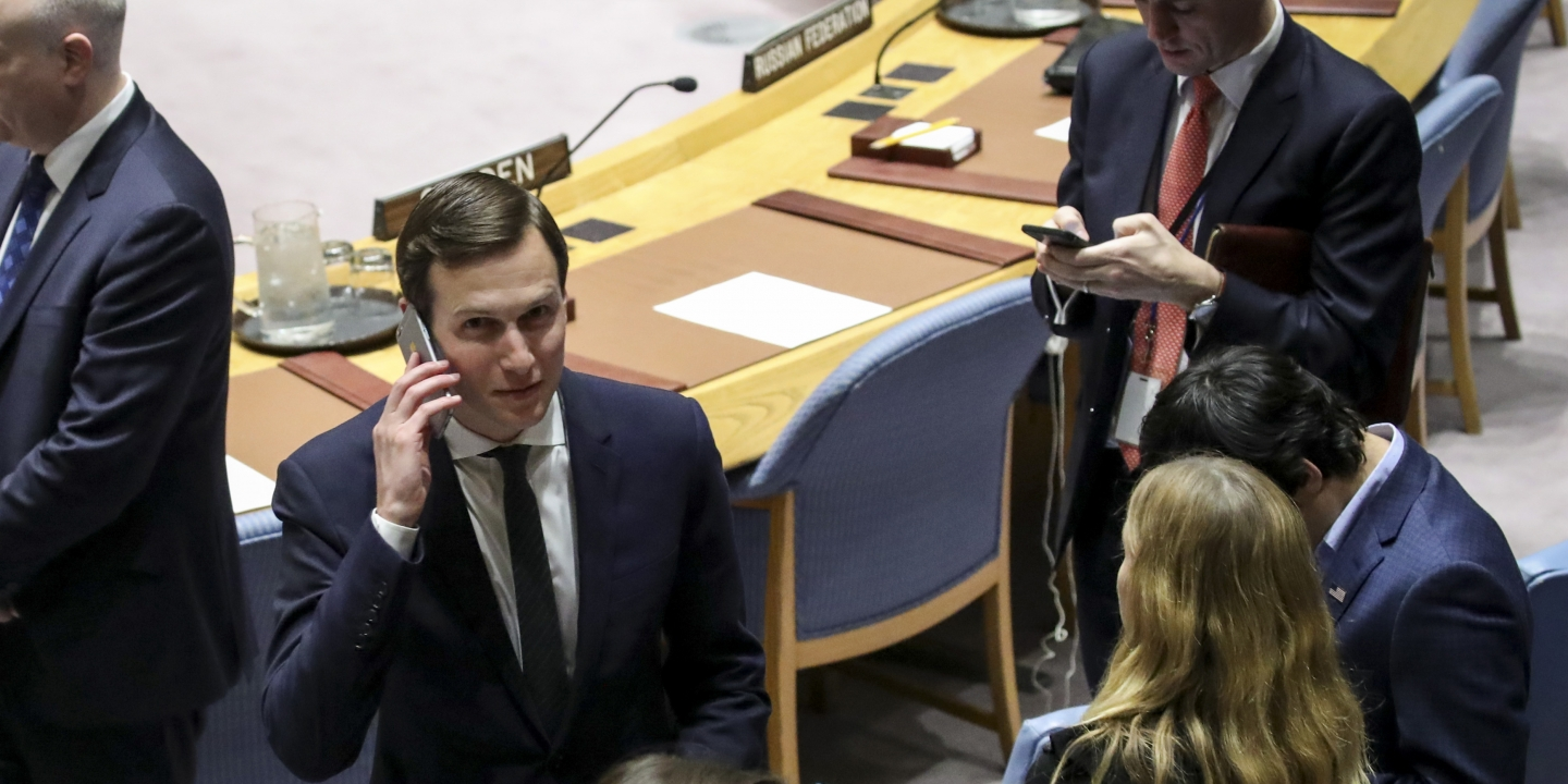 NEW YORK, NY - FEBRUARY 20: White House Senior Advisor Jared Kushner talks on his cell phone before the start of a United Nations Security Council concerning meeting concerning issues in the Middle East, at UN headquarters, February 20, 2018 in New York City. (Photo by Drew Angerer/Getty Images)